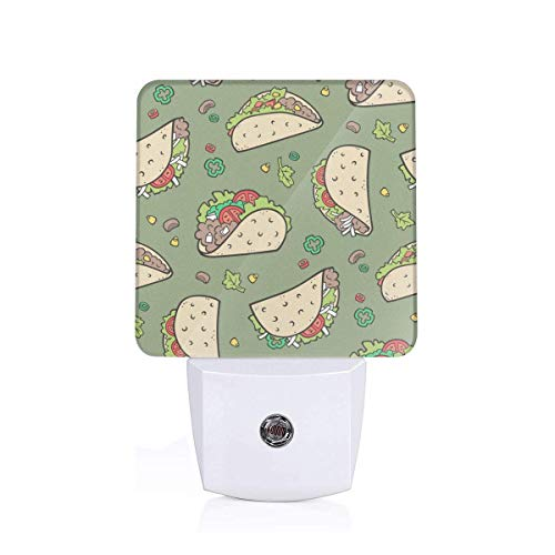 Tacos Food On Olive Green Plug-in Night Light Warm White LED Nightlight Dusk-to-Dawn Sensor for children-UK (Food Products Dawn)