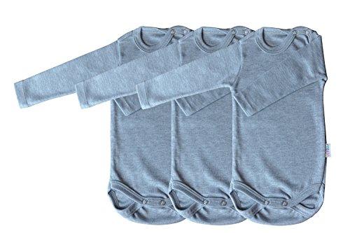 Langarm-Babybodys 3er Pack grau Grösse 74 Body Unisex aus 100% Baumwolle mit Druckknöpfen