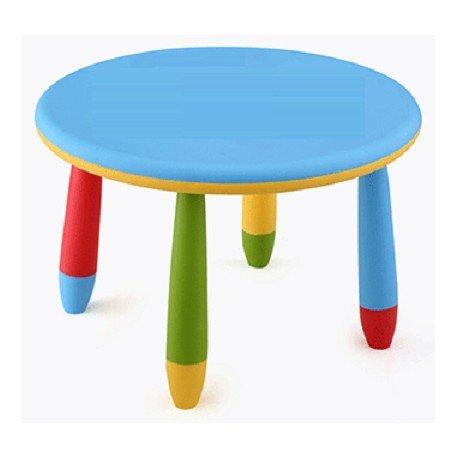 Mesa infantil redonda de plástico, Desmontable, para niños, Azul