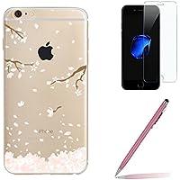 Custodia iPhone 7 [Pellicola Protettiva in Vetro Temperato], Yoowei® Rosa Ciliegia Disegni Cristallo Trasparente Ultra Sottile Morbido TPU Case Cover per iPhone 7 4.7