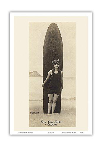 Surf Vintage Hawaii-art (Pacifica Island Art The Surf-Rider Hawaii-Baden Schönheit vor Surfbrett-Kodagraph Honolulu-Echtleder Vintage Foto Postkarte von Ray Jerome Baker c.1910-Hawaiian Master Kunstdruck 12