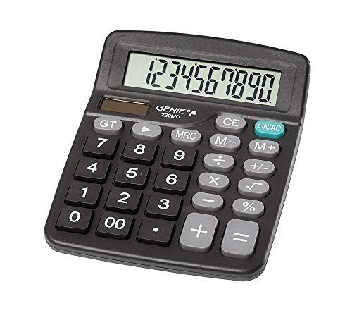 Genie 220 MD 10-stelliger Tischrechner, Dual-Power (Solar und Batterie) 1 Stück, kompaktes Design, schwarz