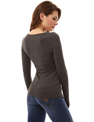 PattyBoutik femmes blouse croisée à manches longues à col v gris chiné foncé