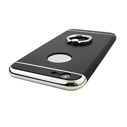 Skitic 360 Degrés de Rotation Ring Stand Holder Clair Housse de Protection Étui Coque pour iPhone 6 / iPhone 6S, Ultra Mince 3 In 1 Hybrid Dur PC case Protecteur Bumper cover avec Electroplate Plating Noir