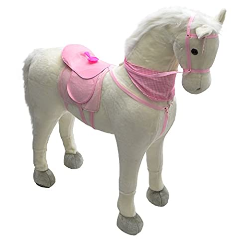 Pink Papaya Huge XXL Toy Horse Luna, Almost life-size gigantic toy elves horse as an alternative to normal rocking horses, With brush to comb the shining mane, Head height approx. 125 cm, Shoulder height approx. 90 cm, Colour: white/pink