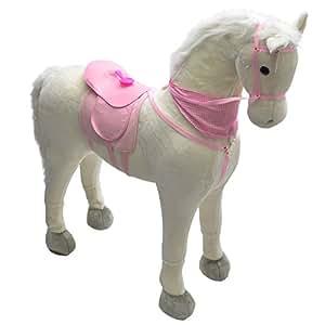 Pink Papaya - Cheval jouet géant (XXL) LUNA, grandeur nature cheval jouet géant comme alternative au cheval à bascule normal, Hauteur de tête: env. 125 cm, Hauteur d´épaule: env. 90 cm, Couleur: blanche / crinière blanche