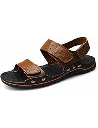 Herren Rund Toe Baotou Sandalen Leichte Bequeme Sommer Atmungsaktive Klettverschluss Schnalle Sandaletten Weiß,Blau 42 EU