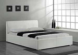 lederbett modernes leder bett in wei 160x200 bettgestell bettrahmen polsterbetten lattenrost. Black Bedroom Furniture Sets. Home Design Ideas