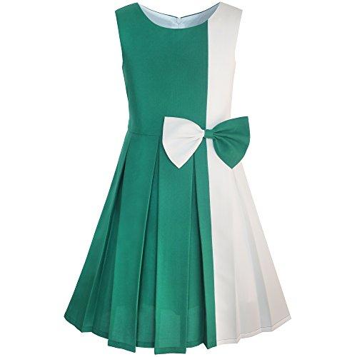 (Mädchen Kleid Farbe Blockieren Kontrast Bogen Binden Everday Gr. 146)