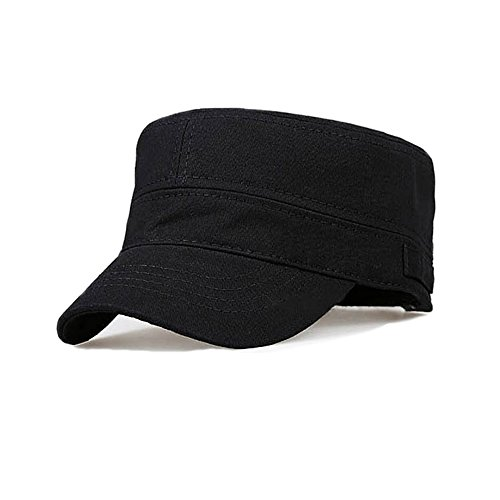 Ambysun Cotton Flat Top Peaked Baseball Twill Army Millitary Corps Hat Cap Visor (Black) -