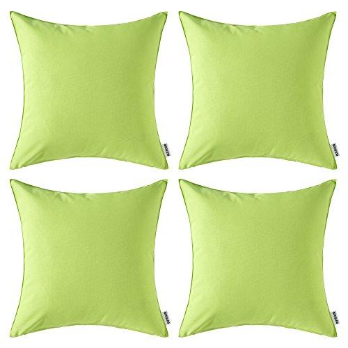 Miulee confezione da 4 fodere impermeabile decorative all'aperto federe copricuscini arredi per divano camera da letto auto 18 x18 pollici 45 x 45 cm verde