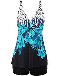 ReliBeauty – Femme – Tankini impression floral Maillot de bain pour dame Bikini set une pièce costume pour nager confortable push up