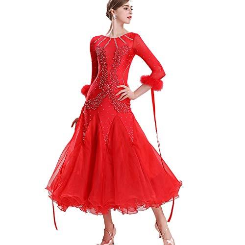 CX Klassisch Modern Dance Performance Kleider Big Swing Rock Hochwertiges National Standard Dance Waltz Gesellschaftstanz Kostüm (Color : Red, Size : - Waltz Dance Kostüm