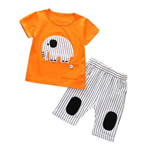 Livoral Kids Bady Boy Set - Gestreiftes T-Shirt mit Elefantenmuster und gestreiften Hosen für Kleinkinder(Orange,80)