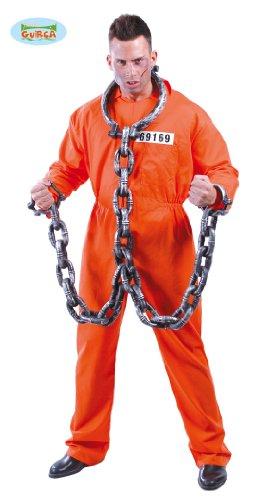 Sträfling Kostüm für Herren Gefängnis Gefangener Halloween Knasti Gr. M-XL, Größe:L (Gefangener Halloween Kostüm)
