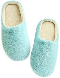Zapatillas de Algodón para Mujer Hombre Fluff Antideslizantes Invierno Interior Casa Calzado