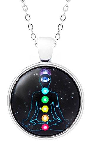 Klimisy - 7 Chakren Kette mit Anhänger - Ein Baum wird gepflanzt für jede verkaufte Halskette - Yoga Glas-Amulett in Schwarz (Yantra-halskette)