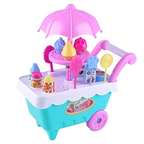 EisEyen Lichter Kinder Einkaufswagen Eiswagen Eiscreme Trolley Spielzeug Dessert Spiel Süßigkeiten mit Zubehör