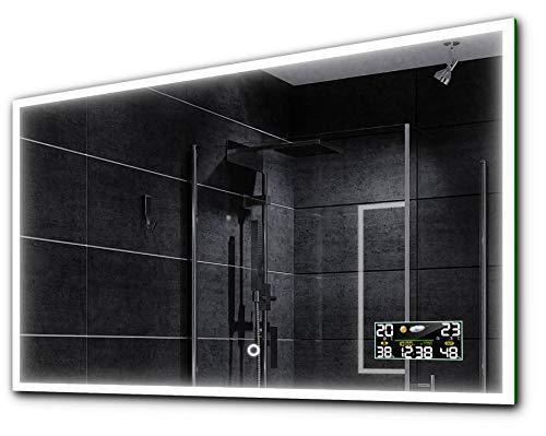 Alasta BOSTEN Spiegel 110x70 mit LED Beleuchtung A++ - Wählen Sie Zubehör - Auswahl von Schalter/LED Uhr/Heizmatte Nach Maß | Beleuchtet Wandspiegel Lichtspiegel - LED Farbe Kaltweiß/Warmweiß