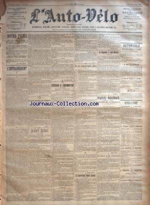 AUTO VELO (L') [No 477] du 03/02/1902 - NOTRE PRIME - L'ENTRAINEMENT - QUAND FAUT-IL COMMENCER ? PAR H. DESGRANGE - BOXE - POUR LES FETES DU COURONNEMENT D'EDOUARD VII PAR LUSIGNY - ALLO ! ALLO ! - LE CRITERIUM DE CONSOMMATION (2E ANNEE) ORGANISE PAR L'AUTO-VELO - 100 KILOMETRES - MERCREDI 5 FEVRIER - AVIS AUX CONCURRENTS - LE DEPART - SUR LA ROUTE - L'ARRIVEE PAR GEORGES PRADE - JE NE COMPRENDS PLUS PAR GEORGES PRADE - JE COMPRENDS MOINS ENCORE PAR GEORGES PRADE -