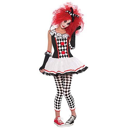 Weibliche Kostüm Harlekin - Tjtcs Kostüm Halloween Cosplay Harlekin Clown Zirkus Kleid Performance Kleidung Party für weibliche Geister Cosplay,L