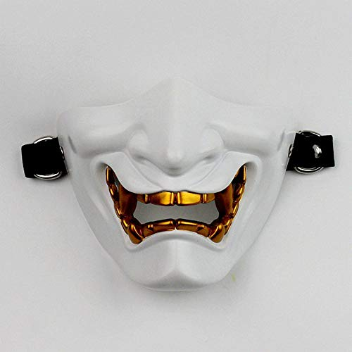 Kostüm Samurai Weibliche - Webla Halbmaske Cosplay Samurai Devil Tactics Maske des Grauens Für Halloween Kostüm Party Maske Halloween Cosplay Party Requisiten, Harz