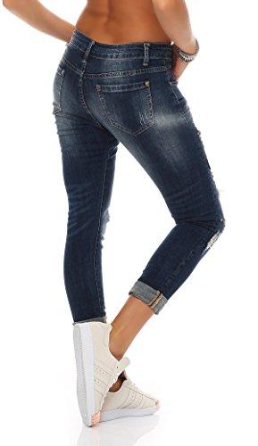 SKUTARI Damen-Jeanshose Boyfriend Trendige Hose mit Löchern oder Nieten Blau 6