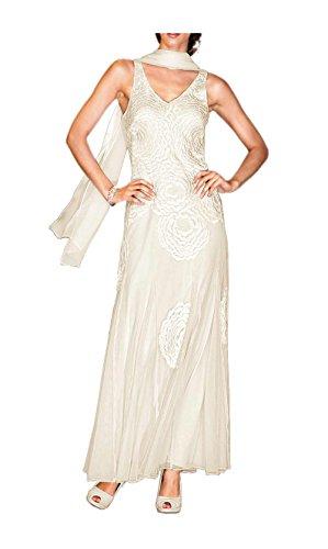 Heine Damen-Kleid Abendkleid mit Perlen Weiß Creme
