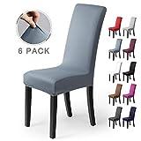 Stuhlhussen 6Stück, Stretch-Stuhlbezug elastische moderne Husse Elasthan Stretchhusse Stuhlbezug Stuhlüberzug.bi-elastic Spannbezug,sehr pflegeleicht und langlebig Universal(Packung von 6,Nebel-Blau)