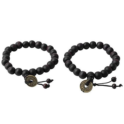 2 pcs Bois Tibet bouddhiste Bouddha Perles élastique Bracelet pièce de monnaie poignet Cadeau Bijoux