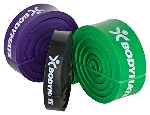 BODYMATE Premium Fitnessband Strong/Grün 23-54kg Widerstandskraft 208cm Umfang
