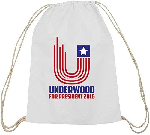 HOC - Underwood For President, Baumwoll natur Turnbeutel Rucksack Sport Beutel weiß natur