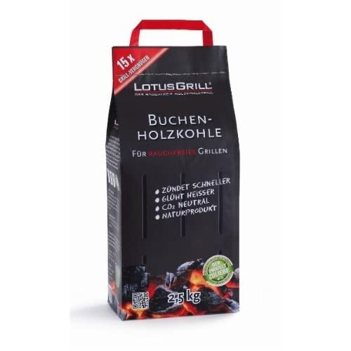 LotusGrill Beech Charcoal 2.5 kg Specially developed for smokeless charcoal grills/table grills