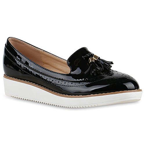 Damen Slipper Loafers Quasten Lack Plateau Snake Plateau Slippers Loafer Nieten Wedges Schuhe 129736 Schwarz Quasten 40 Flandell