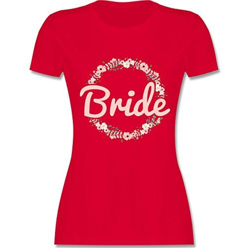 Hen Kostüm Ideen Party - JGA Junggesellinnenabschied - Bride Blumenkranz rosé - M - Rot - L191 - Damen Tshirt und Frauen T-Shirt