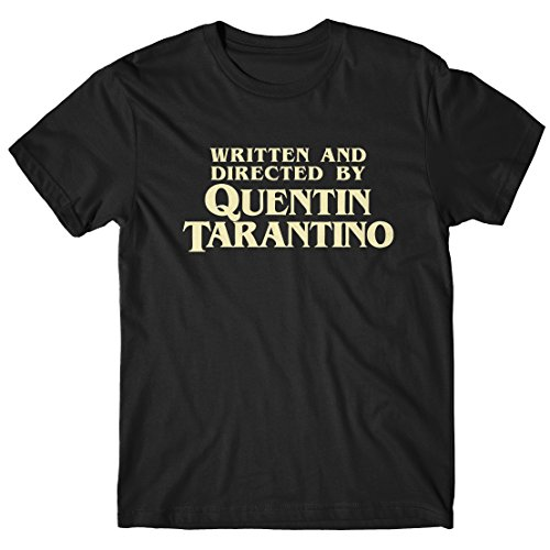 LaMAGLIERIA Camiseta Hombre Written and Directed by Quentin Tarantino - T-Shirt Cult Movie 100% algodòn, M, Negro