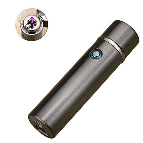 Emsmil USB Electrónico Encendedor Recargable Electrónico Mechero Eléctrico Doble Arco Sin Llama Sin Gas Resistente Al Viento Mechero USB Lighter - Negro