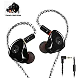 In Ear Monitors,Wired Earbuds Earphone Dual Drivers Headphone with MMCX Detachable Cables,Noise-Isolating in-ear Monitors for Musicians Sweatproof Sports Headphone, Hifi Stereo