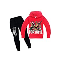 Red fortnite Sports suit 2 pieces set Tracksuits Hoodie+Pant For Boys