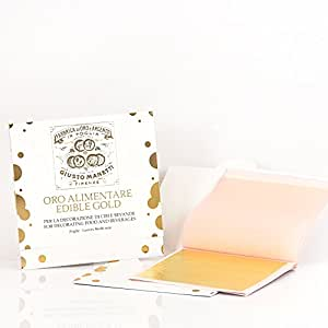 Giusto Manetti Battiloro - Oro Alimentare - Libretto da 5 foglie Oro 23 kt / Edible Gold - Booklet of five 23 kt Gold leaves