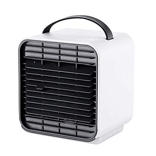 QHGao Mini-Lüfter Mit 4-In-1-Klimaanlage-Multifunktions-Mini-Usb-Raumluftkühler,Luftbefeuchter,Luftbefeuchter,Luftaufbereiter,Desktop-Lüfter Für 3 Geschwindigkeit(Weiß,Blau,Rosa),White