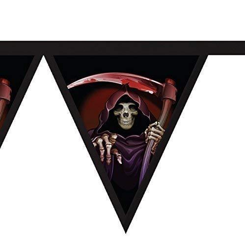 Halloween Stoff Fahnentuch - gruselig Sensenmann Design - Party Dekoration Banner (Für Halloween Gruselig-designs)