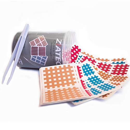 Ziatec Cross Tapes Box mit 102 | 204 | 306 Pflaster in praktischer Schutzdose + Pinzette, Gittertapes, Akupunktur-Pflaster, Größe:Versorgungsbox, Farbe:Mix - 306 Stück