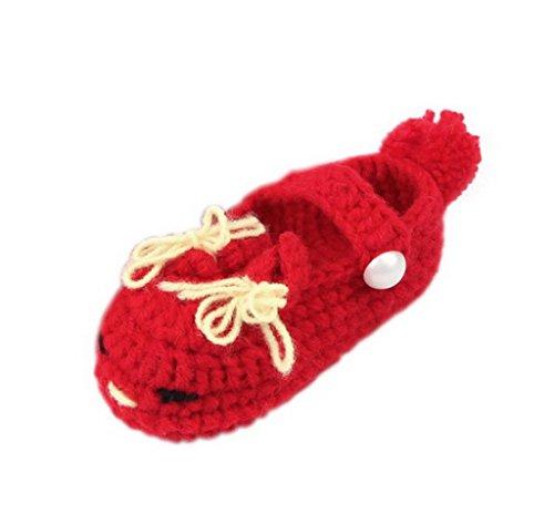 Smile YKK Baby Krabbelschuhe Gestrickte Schuhe flauschige Länge 11 cm Panda Blau Gesicht Rot R