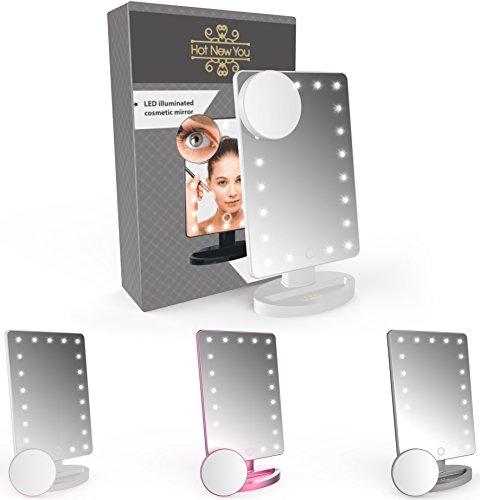 Miroir de maquillage avec éclairage LED 21 lumières et loupe grossissement x10 (amovible). Capteur tactile lumineux et portable pour usage cosmétique – Le cadeau parfait pour femme