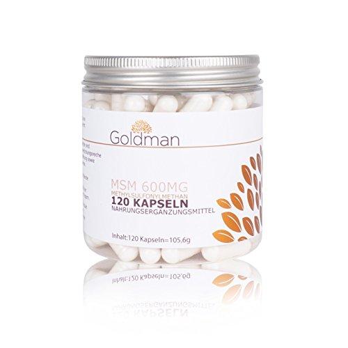 Premium MSM ▪ 120 Kapseln = 4 Monate Vorrat ▪ hochdosiert organischer MSM Schwefel ▪ vegan ▪ Made in Germany ▪ Goldman Nutrition
