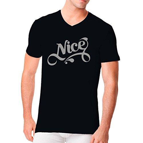 Fun Sprüche Männer V-Neck Shirt - Nice Logo Tattoo Style by Im-Shirt Schwarz