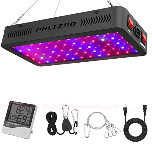 Phlizon Nuovi 600w LED pianta Grow Light, con umidità del termometro del Monitor, con Corda Regolabile, Full Spectrum Doppia accensione impianto per Le Piante d\'veg e flower-600w (10w LED 60pcs)
