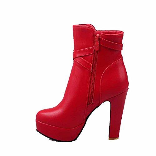 AgooLar Damen Reißverschluss Rund Zehe Hoher Absatz Pu Leder Niedrig Spitze Stiefel Rot