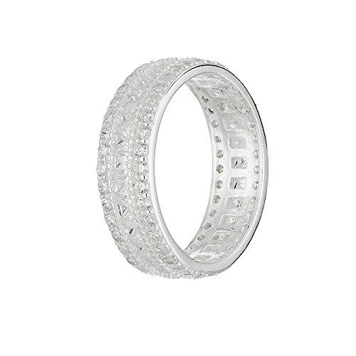 Ring - 925 Silber - 3 Reihen Kristalle - Silber [08.] - 62 Drei Diamant-verlobungsring